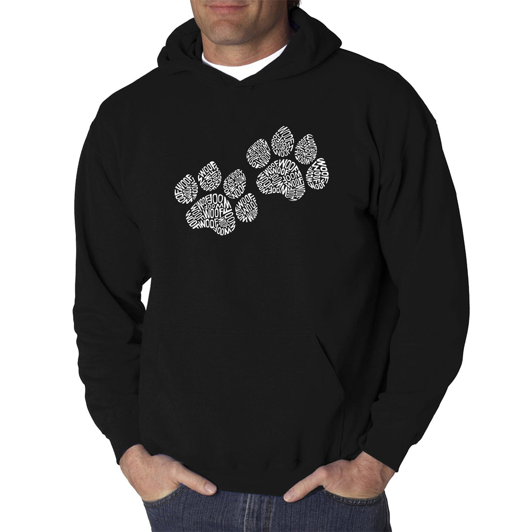 LA Pop Art  Men's Word Art Hooded Sweatshirt - Woof Paw Prints