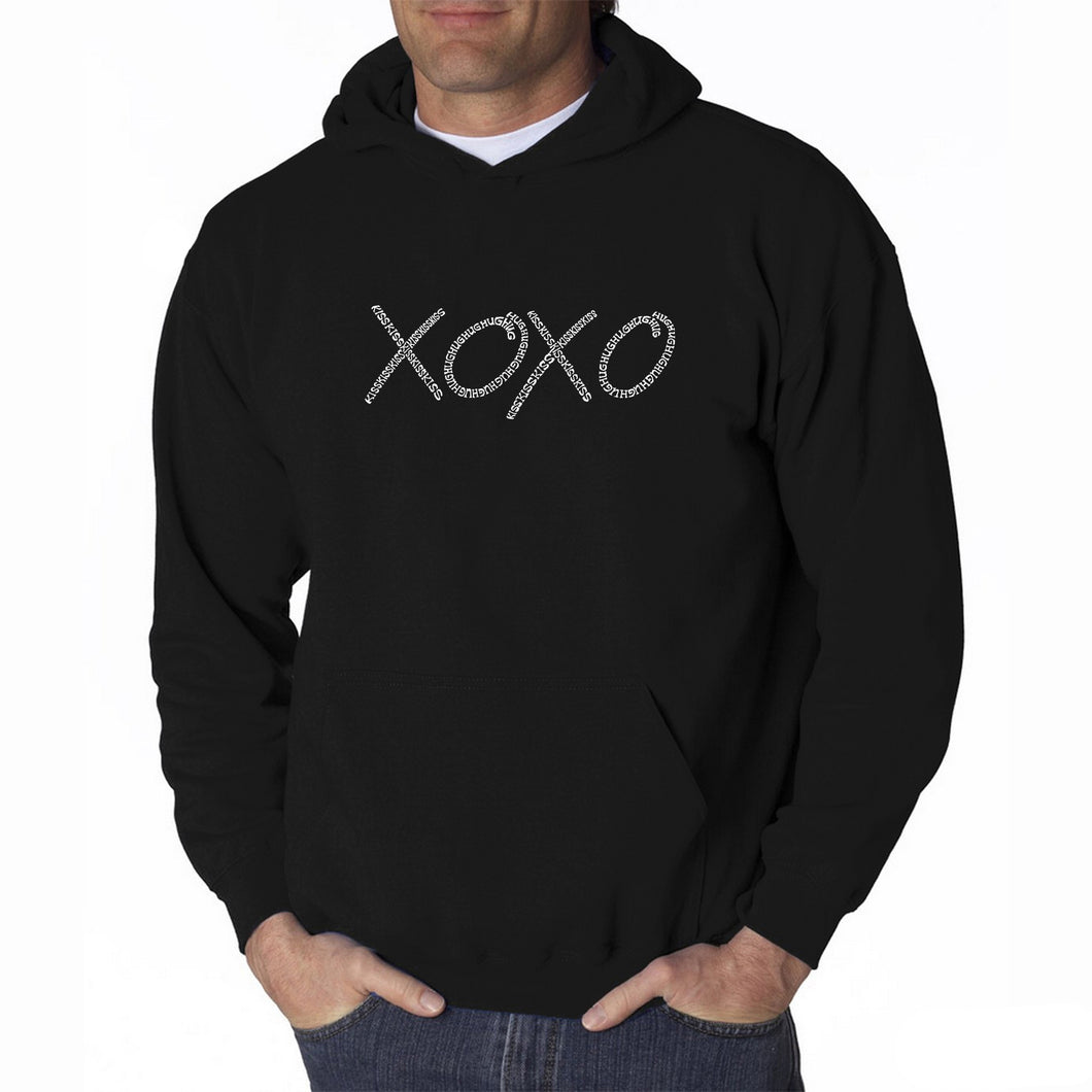 LA Pop Art Men's Word Art Hooded Sweatshirt - XOXO