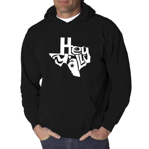 LA Pop Art Men's Word Art Hooded Sweatshirt - Hey Yall