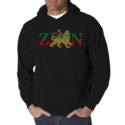 LA Pop Art Men's Word Art Hooded Sweatshirt - Zion - One Love