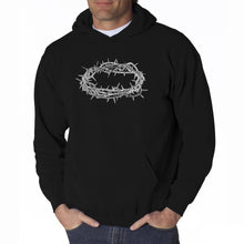 Load image into Gallery viewer, LA Pop Art Men's Word Art Hooded Sweatshirt - CROWN OF THORNS