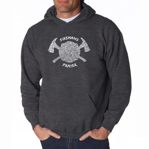 LA Pop Art Men's Word Art Hooded Sweatshirt - FIREMAN'S PRAYER