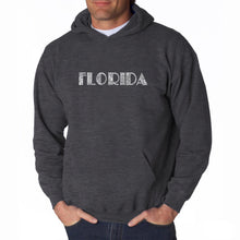 Load image into Gallery viewer, LA Pop Art Men's Word Art Hooded Sweatshirt - POPULAR CITIES IN FLORIDA