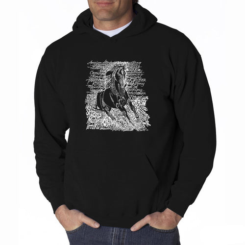 LA Pop Art Men's Word Art Hooded Sweatshirt - POPULAR HORSE BREEDS