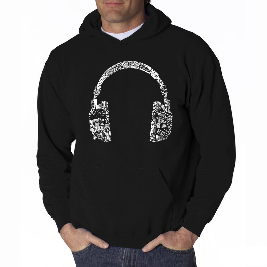 LA Pop Art Men's Word Art Hooded Sweatshirt - HEADPHONES - LANGUAGES