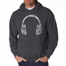 Load image into Gallery viewer, LA Pop Art Men's Word Art Hooded Sweatshirt - HEADPHONES - LANGUAGES