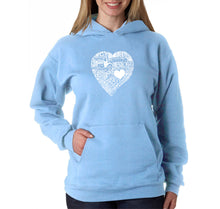 Load image into Gallery viewer, LA Pop Art Women's Word Art Hooded Sweatshirt -LOVE IN 44 DIFFERENT LANGUAGES