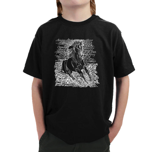 LA Pop Art Boy's Word Art T-shirt - POPULAR HORSE BREEDS