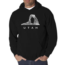 Load image into Gallery viewer, LA Pop Art Men's Word Art Hooded Sweatshirt - Utah