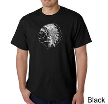 Load image into Gallery viewer, LA Pop Art Men's Word Art T-shirt - POPULAR NATIVE AMERICAN INDIAN TRIBES