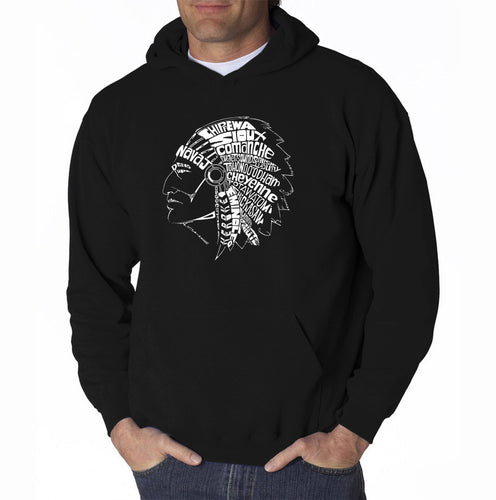 LA Pop Art Men's Word Art Hooded Sweatshirt - POPULAR NATIVE AMERICAN INDIAN TRIBES