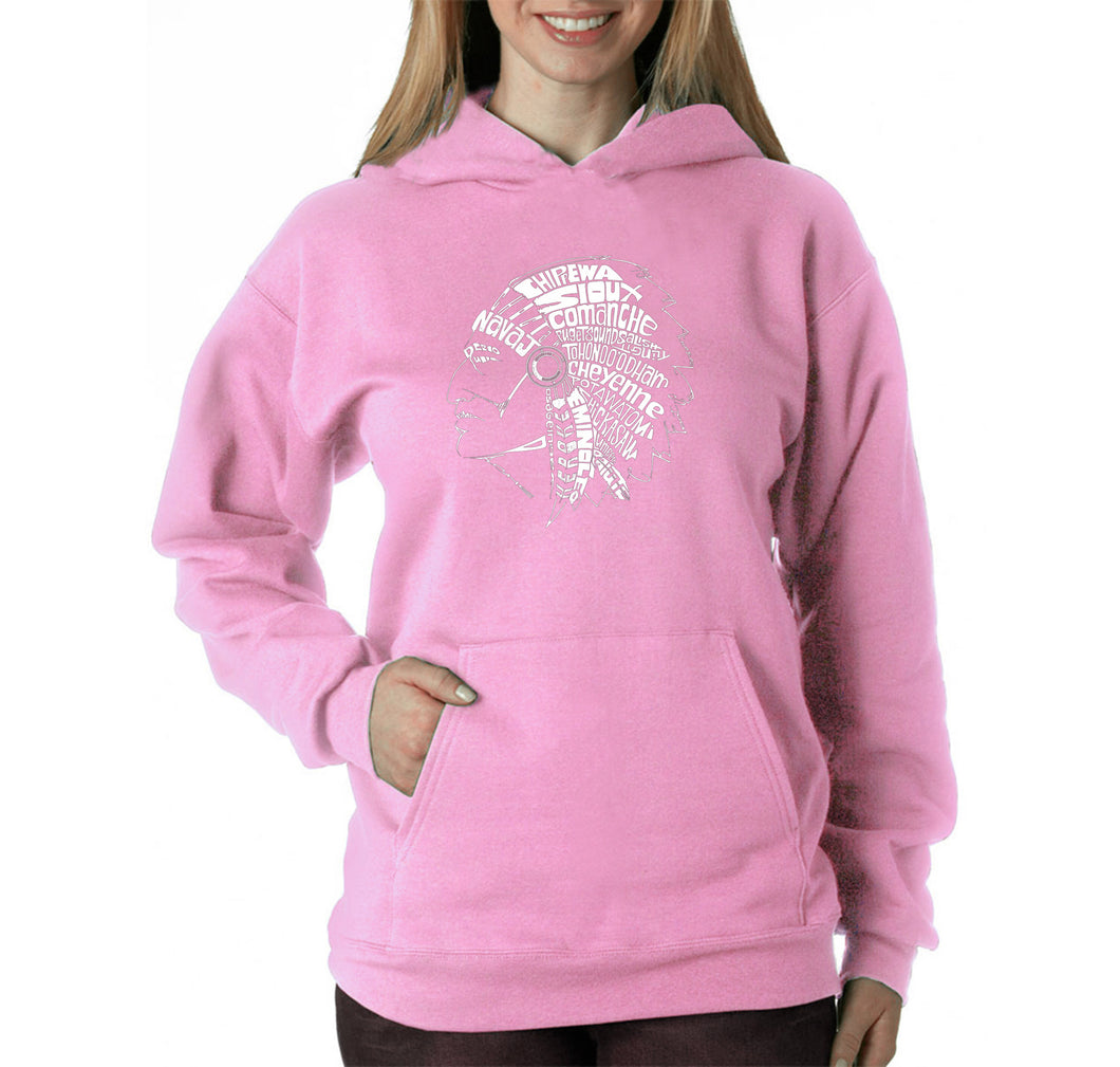 LA Pop Art Women's Word Art Hooded Sweatshirt -POPULAR NATIVE AMERICAN INDIAN TRIBES