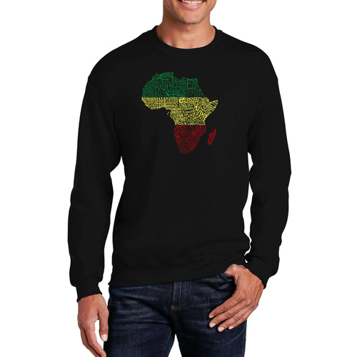 LA Pop Art Men's Word Art Crewneck Sweatshirt - Countries in Africa
