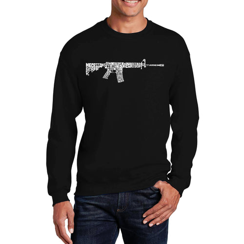 LA Pop Art Men's Word Art Crewneck Sweatshirt - AR15 2nd Amendment Word Art