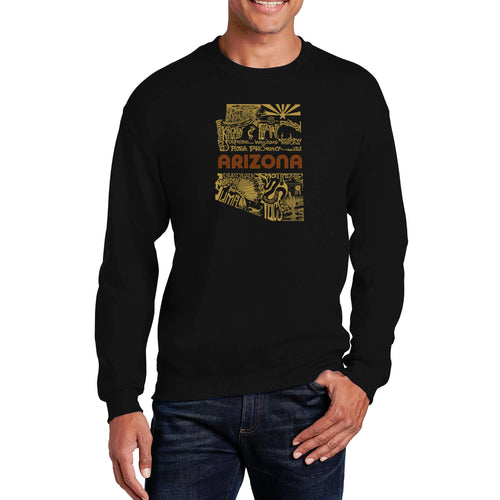 LA Pop Art Men's Word Art Crewneck Sweatshirt - Az Pics