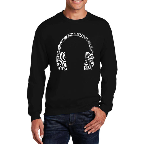 LA Pop Art Men's Word Art Crewneck Sweatshirt - Music Note Headphones