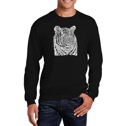LA Pop Art  Men's Word Art Crewneck Sweatshirt - Big Cats