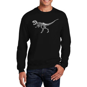LA Pop Art Men's Word Art Crewneck Sweatshirt - Dinosaur T-Rex Skeleton