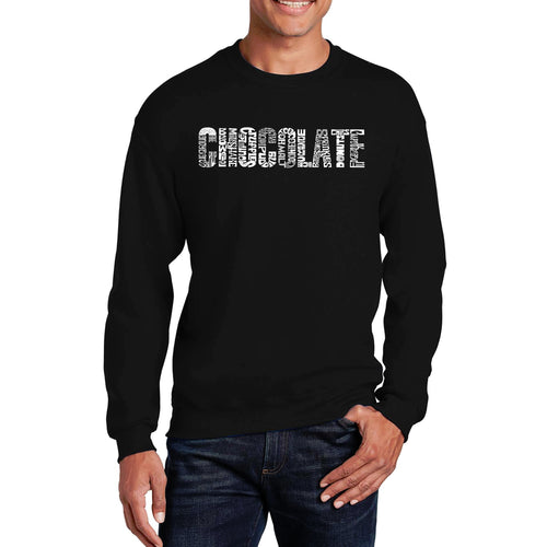 LA Pop Art Men's Word Art Crewneck Sweatshirt - Different foods made with chocolate