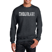 Load image into Gallery viewer, LA Pop Art Men's Word Art Crewneck Sweatshirt - Different foods made with chocolate