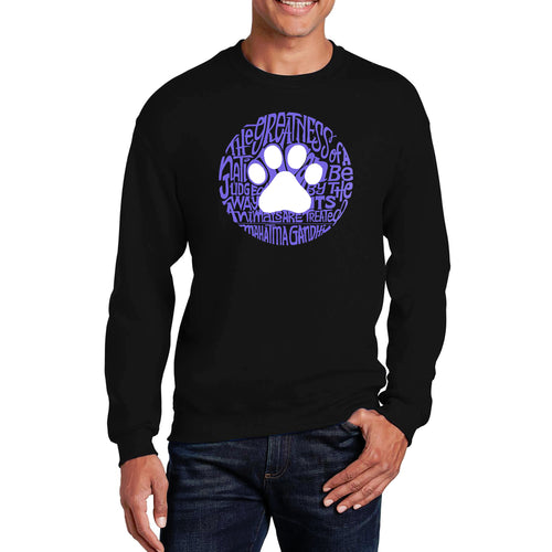 LA Pop Art  Men's Word Art Crewneck Sweatshirt - Gandhi's Quote on Animal Treatment