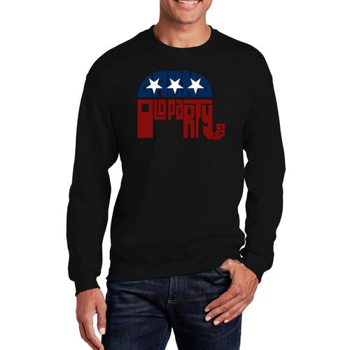 LA Pop Art Men's Word Art Crewneck Sweatshirt - REPUBLICAN - GRAND OLD PARTY