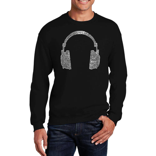 LA Pop Art Men's Word Art Crewneck Sweatshirt - 63 DIFFERENT GENRES OF MUSIC