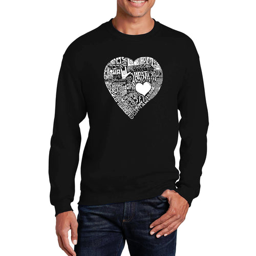 LA Pop Art Men's Word Art Crewneck Sweatshirt - LOVE IN 44 DIFFERENT LANGUAGES