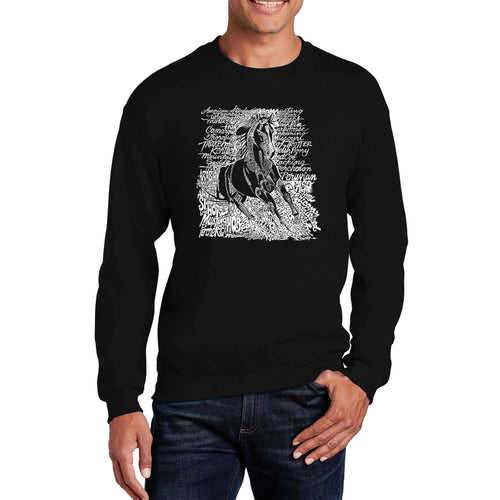 LA Pop Art Men's Word Art Crewneck Sweatshirt - POPULAR HORSE BREEDS