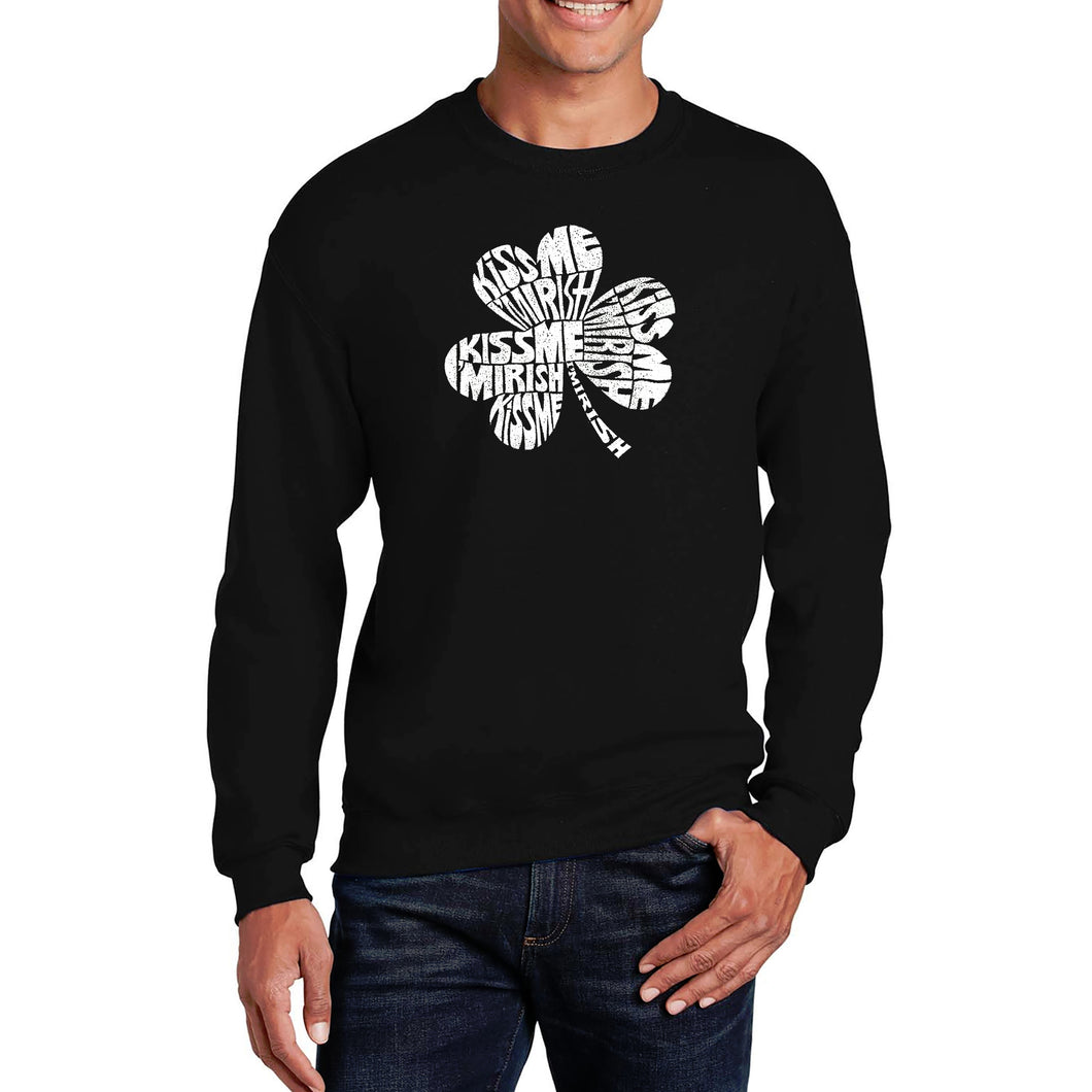 LA Pop Art Men's Word Art Crewneck Sweatshirt - KISS ME I'M IRISH