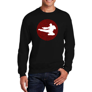 LA Pop Art Men's Word Art Crewneck Sweatshirt - Types of Martial Arts