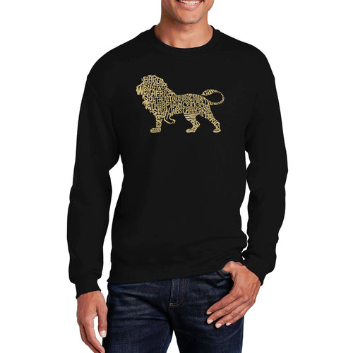 LA Pop Art Men's Word Art Crewneck Sweatshirt - Lion