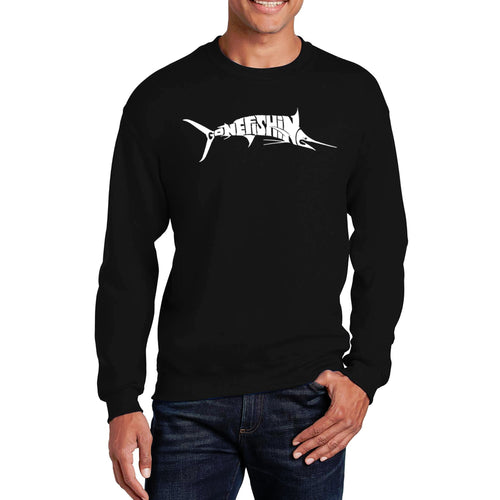 LA Pop Art Men's Word Art Crewneck Sweatshirt - Marlin - Gone Fishing