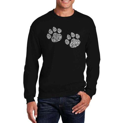 LA Pop Art  Men's Word Art Crewneck Sweatshirt - Meow Cat Prints