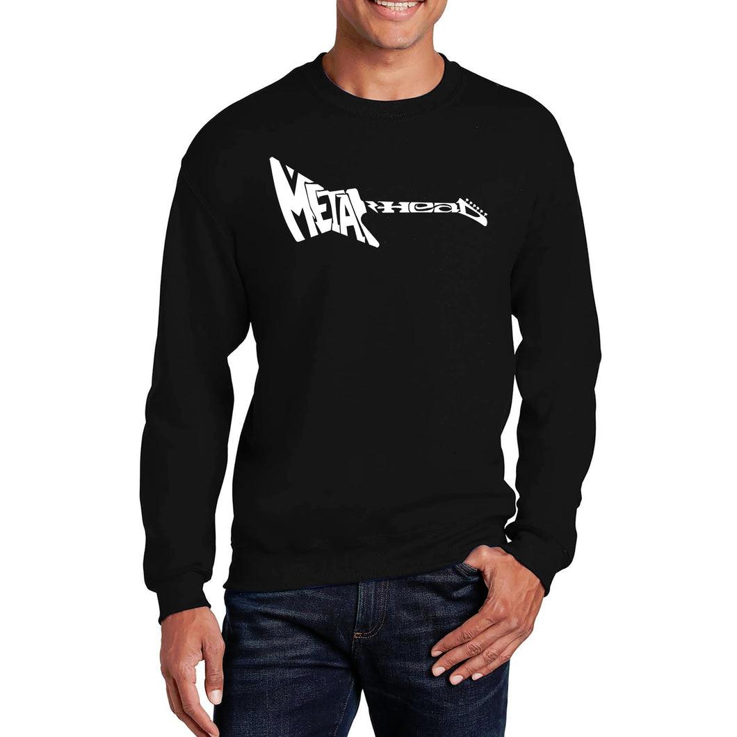LA Pop Art Men's Word Art Crewneck Sweatshirt - Metal Head