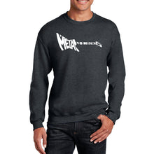Load image into Gallery viewer, LA Pop Art Men's Word Art Crewneck Sweatshirt - Metal Head