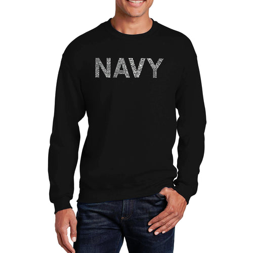 LA Pop Art Men's Word Art Crewneck Sweatshirt - LYRICS TO ANCHORS AWEIGH