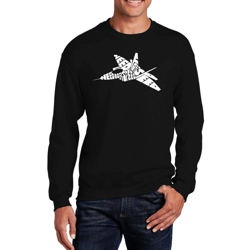 LA Pop Art Men's Word Art Crewneck Sweatshirt - FIGHTER JET - NEED FOR SPEED