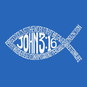 LA Pop Art Men's Premium Blend Word Art T-shirt - John 3:16 Fish Symbol