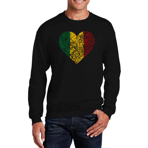 LA Pop Art  Men's Word Art Crewneck Sweatshirt - One Love Heart