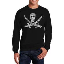 Load image into Gallery viewer, LA Pop Art Men's Word Art Crewneck Sweatshirt - PIRATE CAPTAINS, SHIPS AND IMAGERY