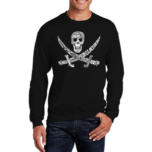 LA Pop Art Men's Word Art Crewneck Sweatshirt - PIRATE CAPTAINS, SHIPS AND IMAGERY