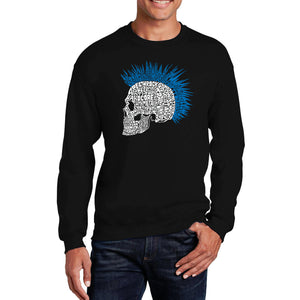 LA Pop Art Men's Word Art Crewneck Sweatshirt - Punk Mohawk