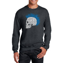 Load image into Gallery viewer, LA Pop Art Men's Word Art Crewneck Sweatshirt - Punk Mohawk