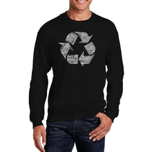 Load image into Gallery viewer, LA Pop Art Men's Word Art Crewneck Sweatshirt - 86 RECYCLABLE PRODUCTS