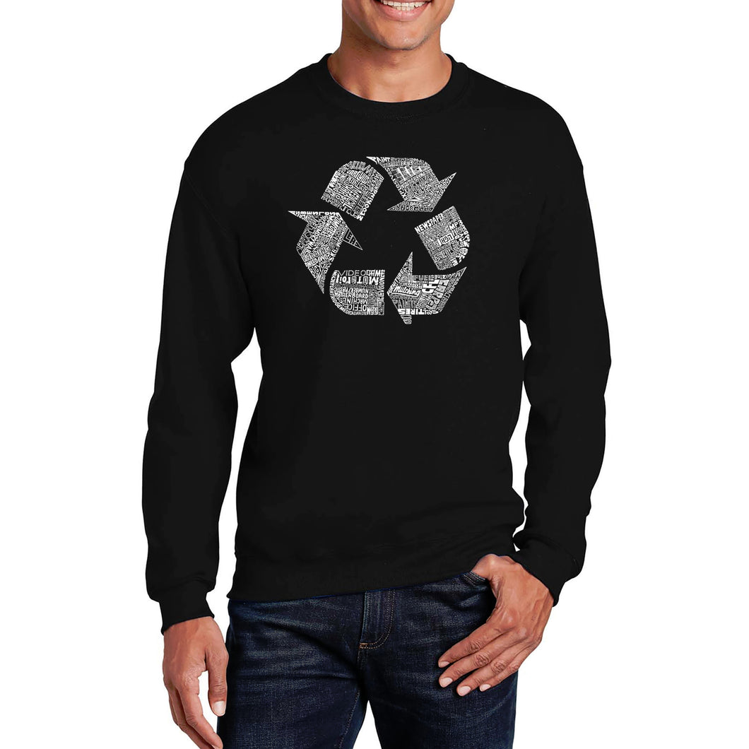 LA Pop Art Men's Word Art Crewneck Sweatshirt - 86 RECYCLABLE PRODUCTS