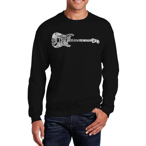 LA Pop Art  Men's Word Art Crewneck Sweatshirt - Rock Guitar