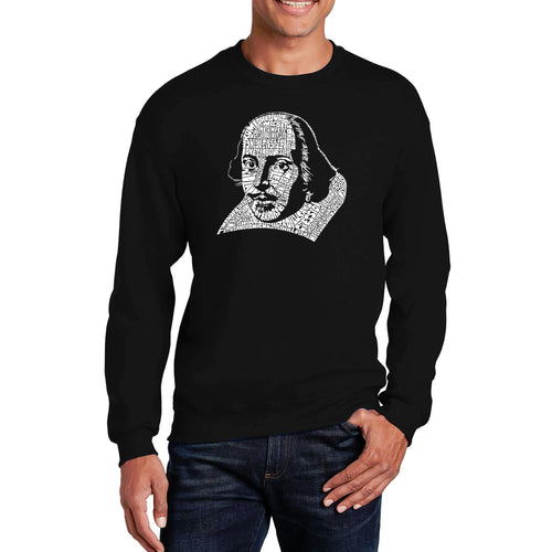 LA Pop Art Men's Word Art Crewneck Sweatshirt - THE TITLES OF ALL OF WILLIAM SHAKESPEARE'S COMEDIES & TRAGEDIES
