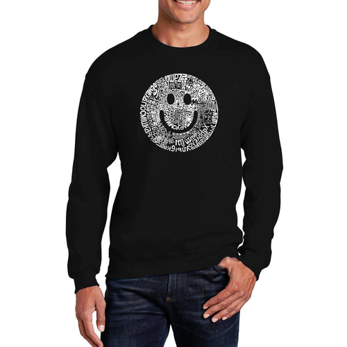LA Pop Art Men's Word Art Crewneck Sweatshirt - SMILE IN DIFFERENT LANGUAGES