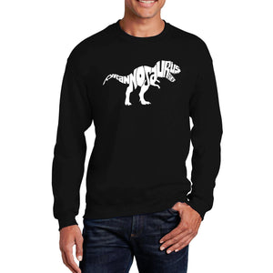 LA Pop Art Men's Word Art Crewneck Sweatshirt - TYRANNOSAURUS REX